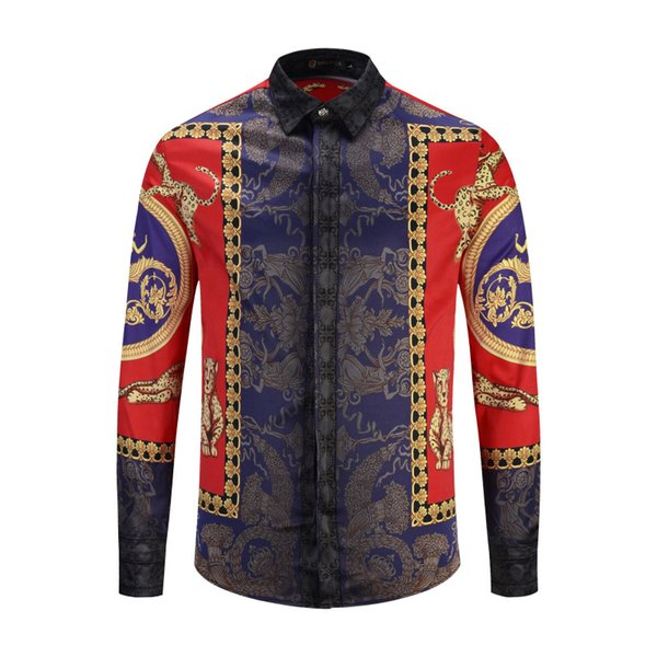 top popular France High Street Luxury Men's Dress Shirts Fashion Harajuku Casual Shirt Men Medusa Black Gold tiger leopard Fancy Slim Fit Shirts 2XL 2019