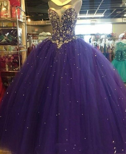 Crystal Beaed Ball Gown Tulle Quinceanera Dresses 2019 Sweethart Floor Length Lace-up Sweet 16 Prom Gowns