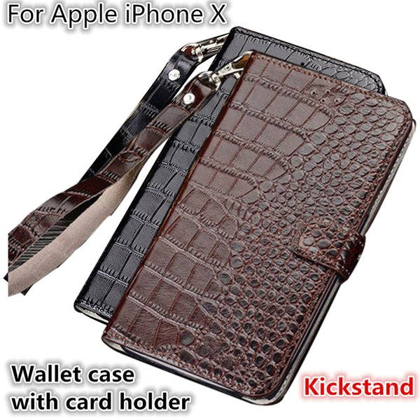 QX10 Crocodile Texture Gneuine Leather Wallet Case With Card Holders For Apple iPhone X Phone Case Fundas With Lanyard