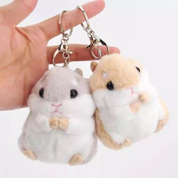 Small Hamster Toy Doll New Style Cute Soft Plush Cartoon Kawaii Animal Key Chain Stuffed Mouse Toy Birthday or Christmas Baby Kids Gift
