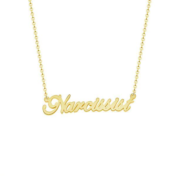 Gargantilha de ouro Assinatura Personalizada Colares de Aço Inoxidável Personalizado Nome da Fonte Pingente de Colar de Mulheres Presentes de Aniversário