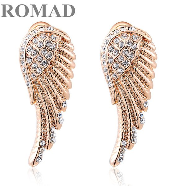 ROMAD Exquisite Angel Wings Clip Earrings for Women Crystal Strong Wing Wedding Earrings Leaf Modern Beautiful Feather Jewelry