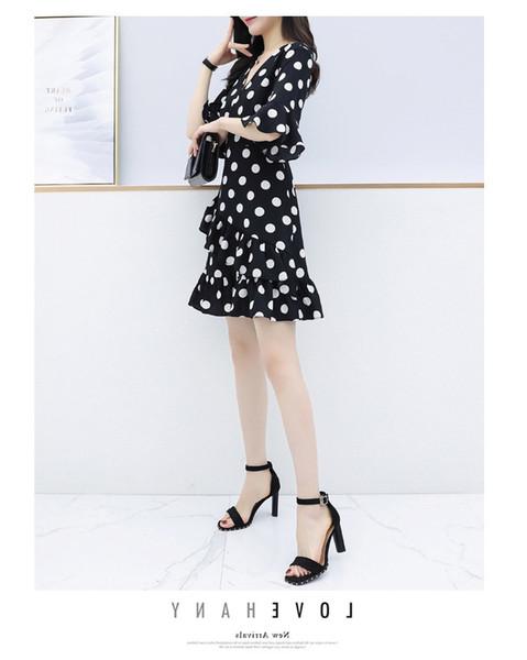 2019 primavera e verão novas mulheres venda irregular vestido de saia irregular ponto de onda com decote em v babados vestido fino
