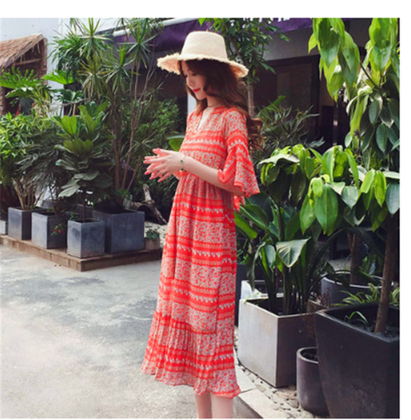 Fashion Pregnant Women's Summer Dress 2018 Hot Selling Tide Mother Long Spicy Mother Feeding Clothes Short Sleeves Out of Nursing Clothes