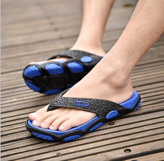 2019 free shoping! Hot! Summer Mens SlippersSlide Sandals Men's Beach Shoes Rubber Platform flip flops for leather slippers-men