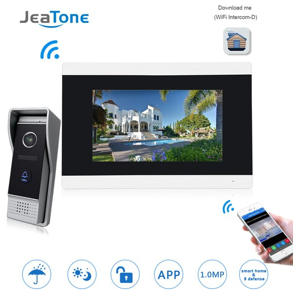 JeaTone Dokunmatik Ekran Kablosuz WIFI IP Görüntülü Kapı Telefonu İnterkom Video Kapı Zili Villa Daire Erişim Kontrol Sistemi Hareket Algılama