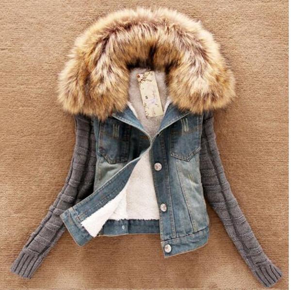 Женщина весна и осень Хань издание высокого качества товаров мода специальная цена прилив новый фонд Джокер воротники джинсы пальто коллаж Мао / S-5XL