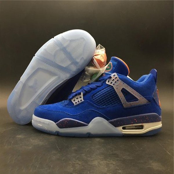 designer fashion ef5fe ebb59 2019 With Box Top Quality 4 Florida Gators Pe Unc Powder Blue Suede  Basketball Shoes Men 4s Gators Pe Blue Orange Unc Sports Sneakers From  One3cm, ...