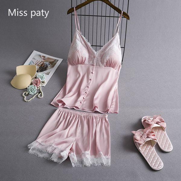 Розовое кружево Вставка сексуальное шелковое женское белье ночная рубашка топ и шорты повседневная пижама набор ночной костюм атлас для женщин 2шт пижамы ночная рубашка