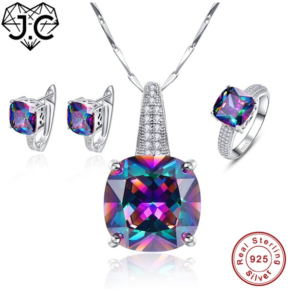 J.C Engagement Mujeres Hombres Rainbow Mystic Topaz Colgante Anillo Pendiente Genuino Sólido 925 Conjunto de joyería de plata esterlina estándar