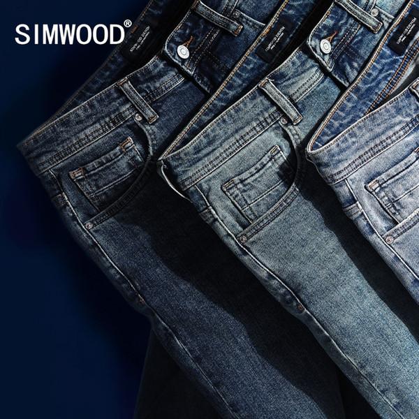SIMWOOD 2019 Nuevos Pantalones Vaqueros Hombres Jean Clásico de Alta Calidad de Pierna Recta Pantalones Casuales Masculinos Más Tamaño Pantalones de Algodón Denim 180348 # 345709