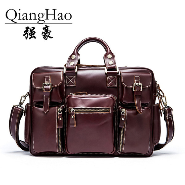 Classic Design 100% cow leather Large Size Leather Briefcases Men Casual Business Man Bag Office Briefcase Bags Laptop Bag #30479