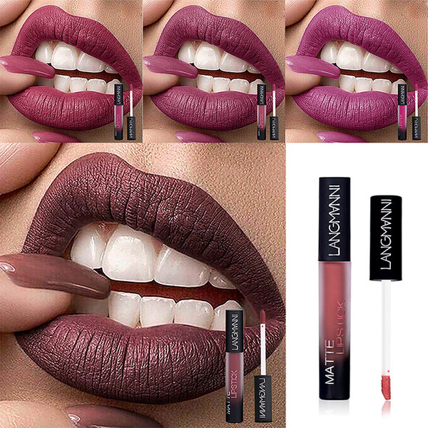 LANGMANNI Sexy Lip Gloss Long Lasting Pigment Matte Liquid Lipstick Waterproof Lip Tint Makeup Korea Cosmetics maquillaje TSLM1