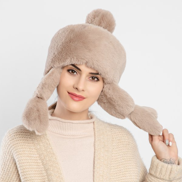 2019 winter faux fur hat Brown Women Bomber Hats Head Length 58-62cm