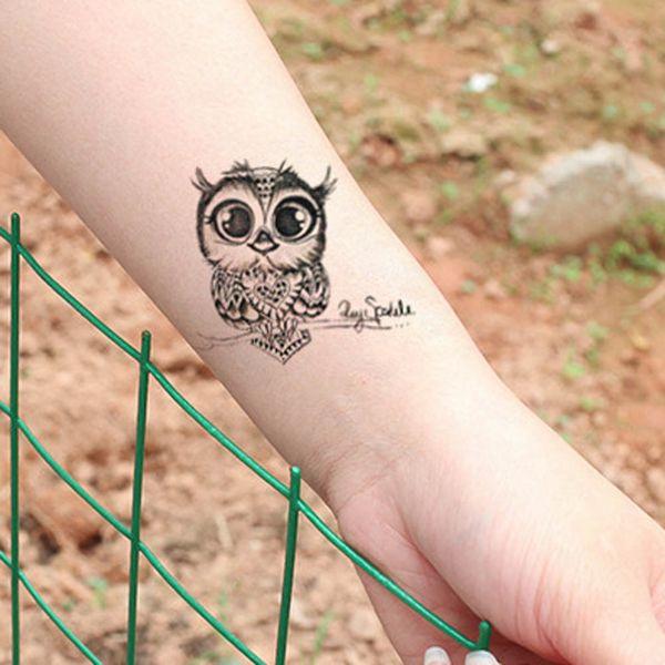 1pc Cute Owl Arm Fake Transfer Tattoo Sexy Large Temporary Tattoos Sticker Men Women Body Art 105*60mm C18122801