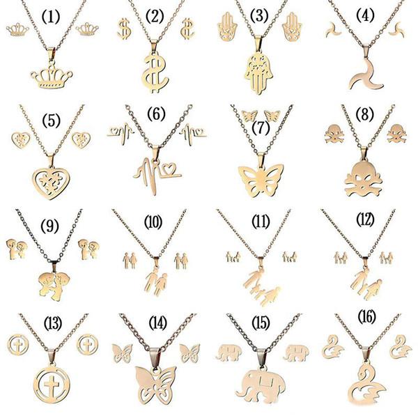 316L Paslanmaz çelik Takı setleri Taç Kafatası kelebek Fil Kalp kolye kolye kadınlar Için Moda Takı Saplama Küpe Set