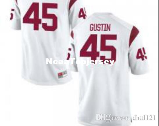 Ucuz Ucuz Erkekler # 45 Beyaz Porter Gustin USC Trojans Mezunlar Jersey Dikişli Futbol formaları