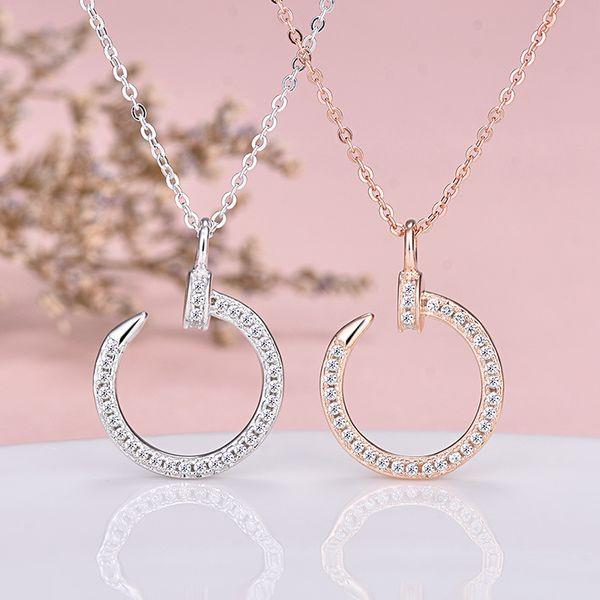 Marca Diseñador Clásico Joyería Gancho Collar de Cristal Colgante de Uñas Europea Venta Caliente Internet Celebridad Moda Oro Collar de plata