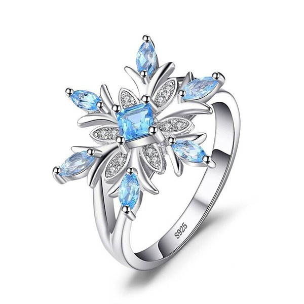 Europe and American flower ring CZ joker blue Women's Fashion silver plated Diamond girl gift jewelry ring size:6-10#