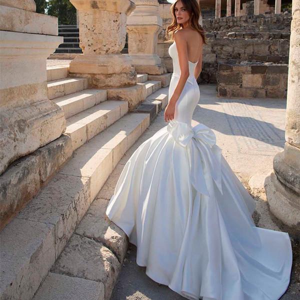 Beach Mermaid Wedding Dresses Bridal Gowns Strapless Column Sheath Sleeveless