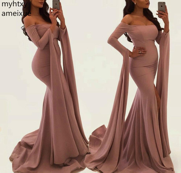 2019 New Mermaid Long Sleeves Split Vestidos de noche sexy Último Arabia Saudita Dubai Off Wear Fiesta formal Vestidos de baile Tallas grandes