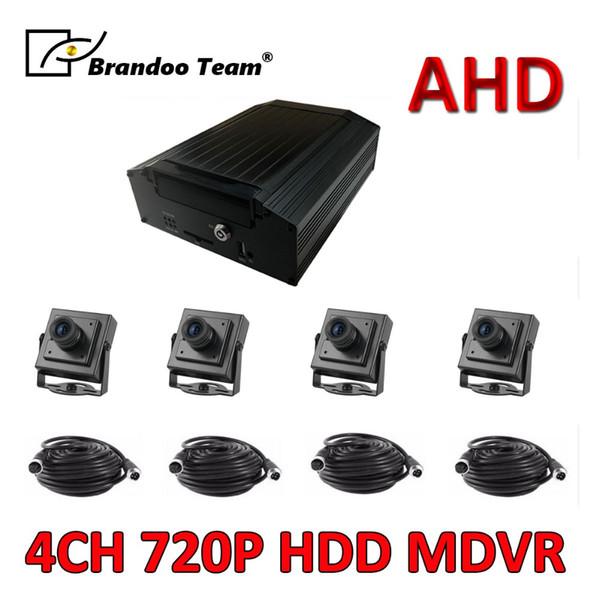 Freies Verschiffen 4 Festplatten-Auto DVR MDVR des Kanal-H.264 720P HD AHD 2TB HDD Videogerät-4pcs 1.3MP Auto-Kamera