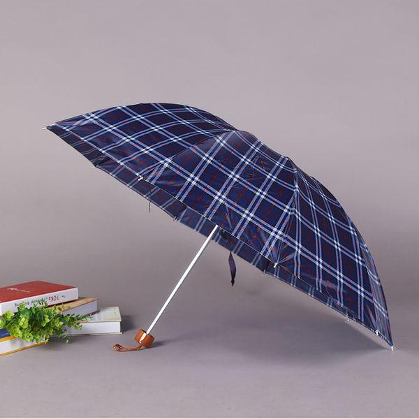 Outdoor Portable Three-folding UV Protection Plaid Umbrella 8 Bone Wind Resistant Umbrella Rainproof Men Women Folding Umbrellas DH0990 T03