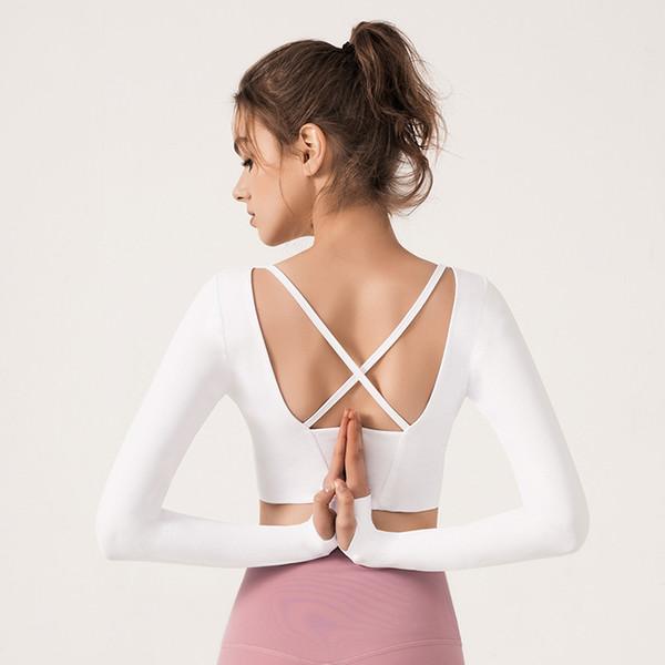 2019 Mujeres Gym Yoga Blanco Crop Tops Camisetas de Yoga Camisetas de manga larga Entrenamientos Fitness Running Sport Camisetas Entrenamiento Yoga Ropa deportiva