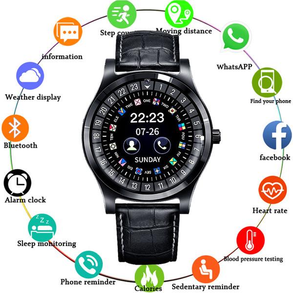 MNWT Smart Watchs Runde Unterstützung SIM TF-Karte mit WhatsApp und Facebook Männer Frauen Business Leder Smartwatch für Android Phone