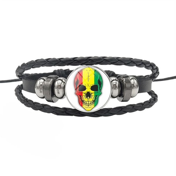 Rwanda National Flag Time Gem Glass Cabochon Skull Series Charm Bracelet For Womens Mens Cowhide Leather Rope Beaded Friendship Jewelry Gift