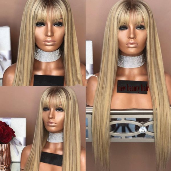 Fashion long natural brazilian lace front wig with bangs brown roots ombre honey blonde wig synthetic hair for africa women