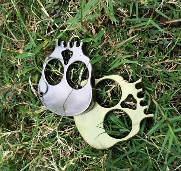 Small 66*60*7 Skull Two Beasts Key Buckle Outdoor Women and Men Self-defense Gadgets Break Windows Driving Protection tools Knuckle Dusters