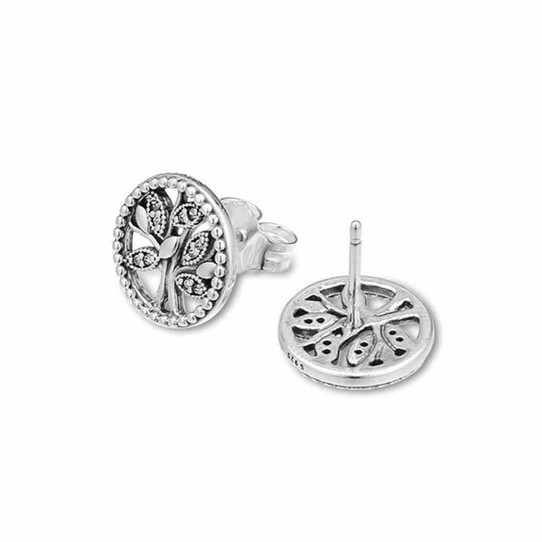 New 100% Authentic 925 Sterling Silver Earring Trees Of Life Pandora Stud Earrings With Crystal For Women Wedding Gift Fine Jewelry