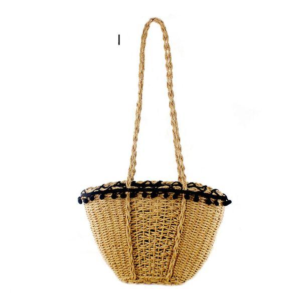 Buena calidad Nuevo bolso de playa para mujeres bolsos de paja hechos a mano lindos bolsos de hierba de verano bolso de la cesta bolso de mano de viaje