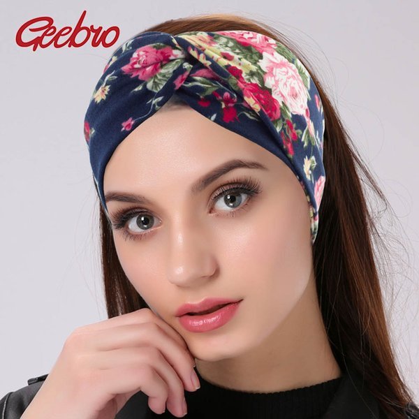 Geebro Women Twisted Knotted Floral Headband Summer Bohemia Floral Wide Stretch Hair Band for Girls Elastic Turban Spa Headbands