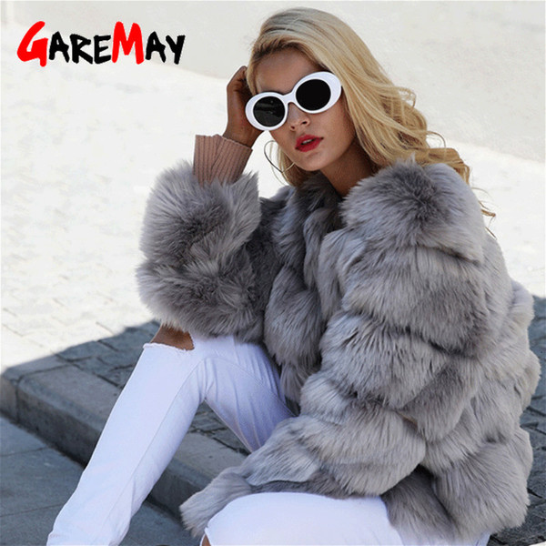 GareMay Vintage fluffy faux fur coat for women Short furry fake fur winter outerwear pink coat 2018 autumn casual party overcoat T191209