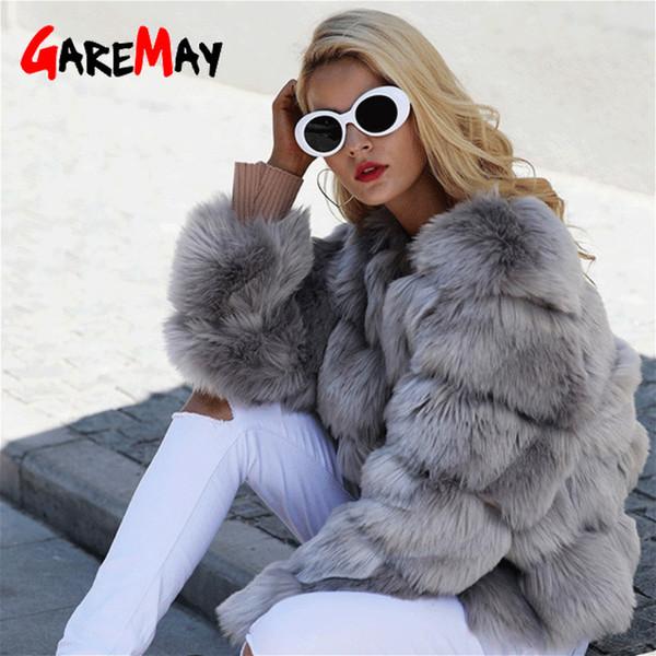 T191209 palto pembe ceket 2018 sonbahar gündelik parti dış giyim Kısa tüylü sahte kürk kış kadınlar için GareMay Vintage kabarık taklit kürk ceket