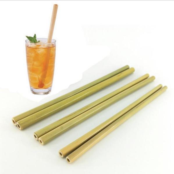 Palha de bambu 20 * 1 cm 20 * 1.8 cm Amarelo Verde Reutilizável Palhinhas de Bambu Eco Barato Partido Bar Canudos De Cozinha OOA6891