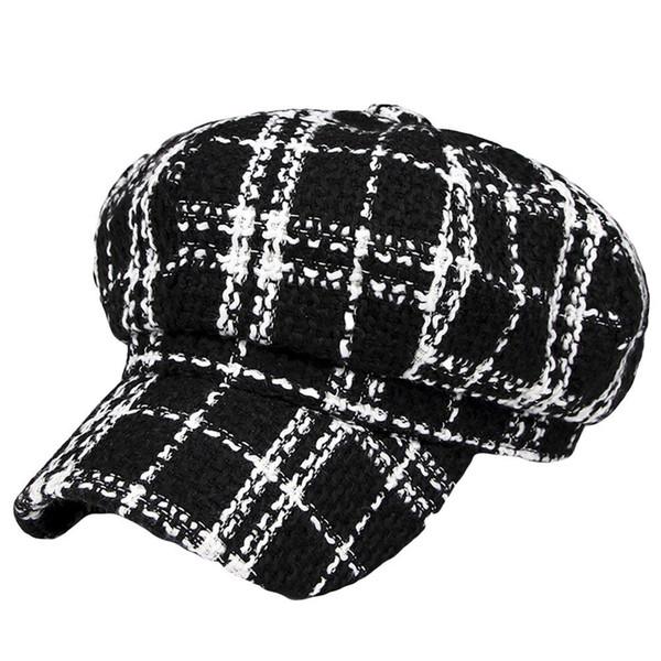 Retro İngiliz Tarzı Ekose Sonbahar Kış Yün Sıcak Kadınlar Doruğa Kap Bereliler Şapka