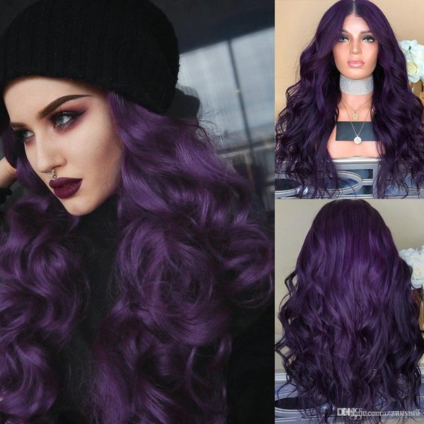 Hair wig long curly dark purple black heat resistant synthetic hair wigs for women