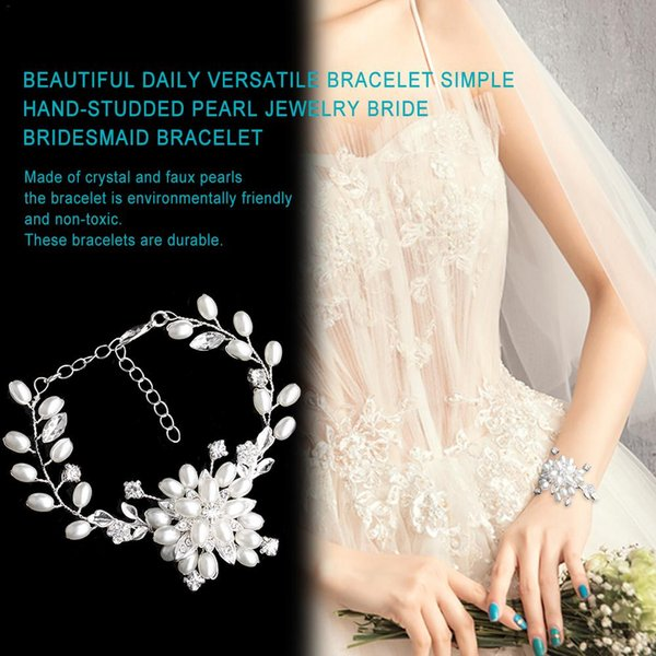 Multifunctional Daily Bracelet Simple Hand-Studded Pearl Jewelry Bride Bridesmaid Bracelet