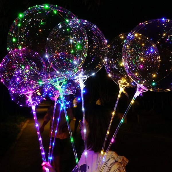 LED Balloon Transparent Lighting BOBO Ball Balloons with 70cm Pole 3M String Balloon Xmas Wedding Party Decorations CCA11728 60pcs