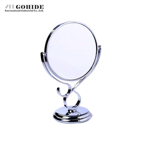 JUH un nuovo stile doppio fronte trucco Grande Desktop specchio del bagno della vernice del metallo Separato specchio e cornice rotonda Mosaico