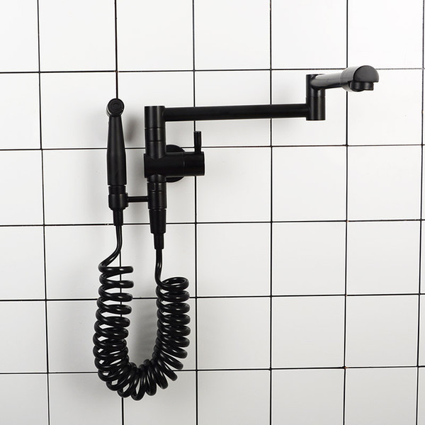 Wall Mounted Kitchen Faucet Brass Single Cold Sink Water Tap With Bidet Sprayer
