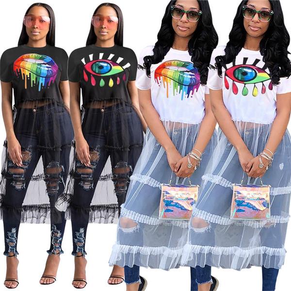 2019 Femmes Eye Lip Imprimé Gaze Robes Dance Runway Manches Courtes T-shirt Patchwork Tulle Jupe Dames D'été Plage Robe Longue S-XL C42602