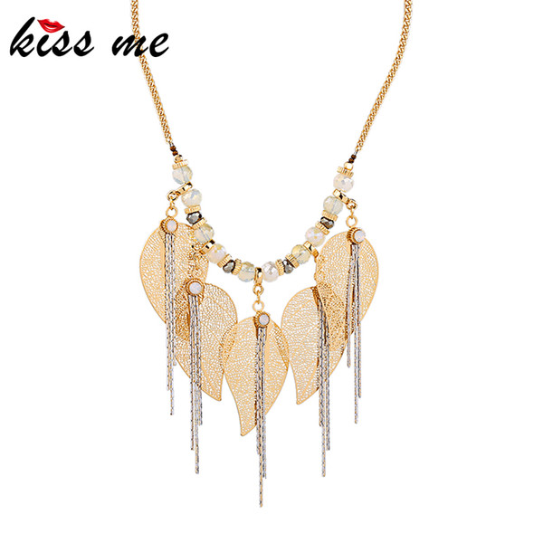 kissme Unique Crystal Brass Leaves Chains Hyperbole Tassel Pendant Necklace For Women Gifts Gold Color Alloy Necklace Accessory