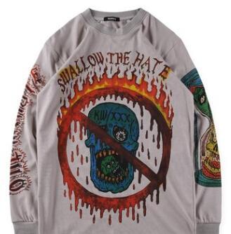 KANYE WEST SEZON 6 XXXTENTA T-Shirt Uzun Kollu Beyaz Haki Kalça HOP Gömlek Artı Boyutu S-XL