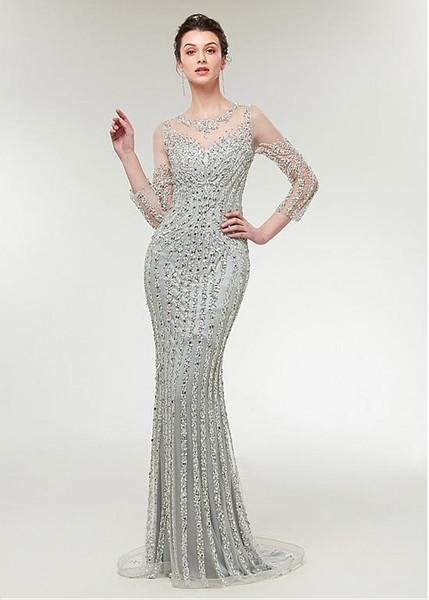 Brilliant Tulle Jewel Neckline 3/4 Length Sleeves Sheath/Column Evening Dress With Beadings mermaid prom dresses vestidos de quinceañera