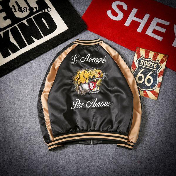 Dropshipping nuevo 2018 venta caliente bordado Tiger Pull chaqueta de bombardero Streetwear Hip Hop chaqueta de béisbol hombres