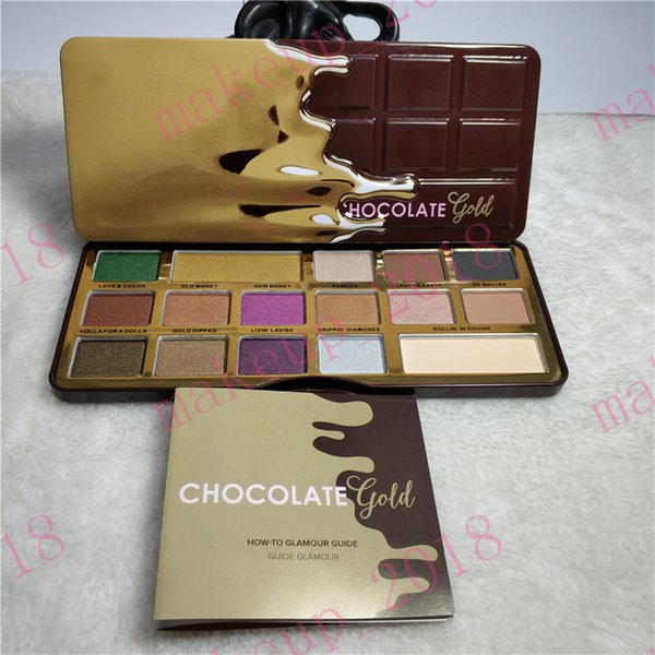 Top quality Chocolate Gold eye shadow Palette 16 Colors metallic & matte Shimmer Natutal Chocolate Eyeshadow chocolate sweet smell ePacket